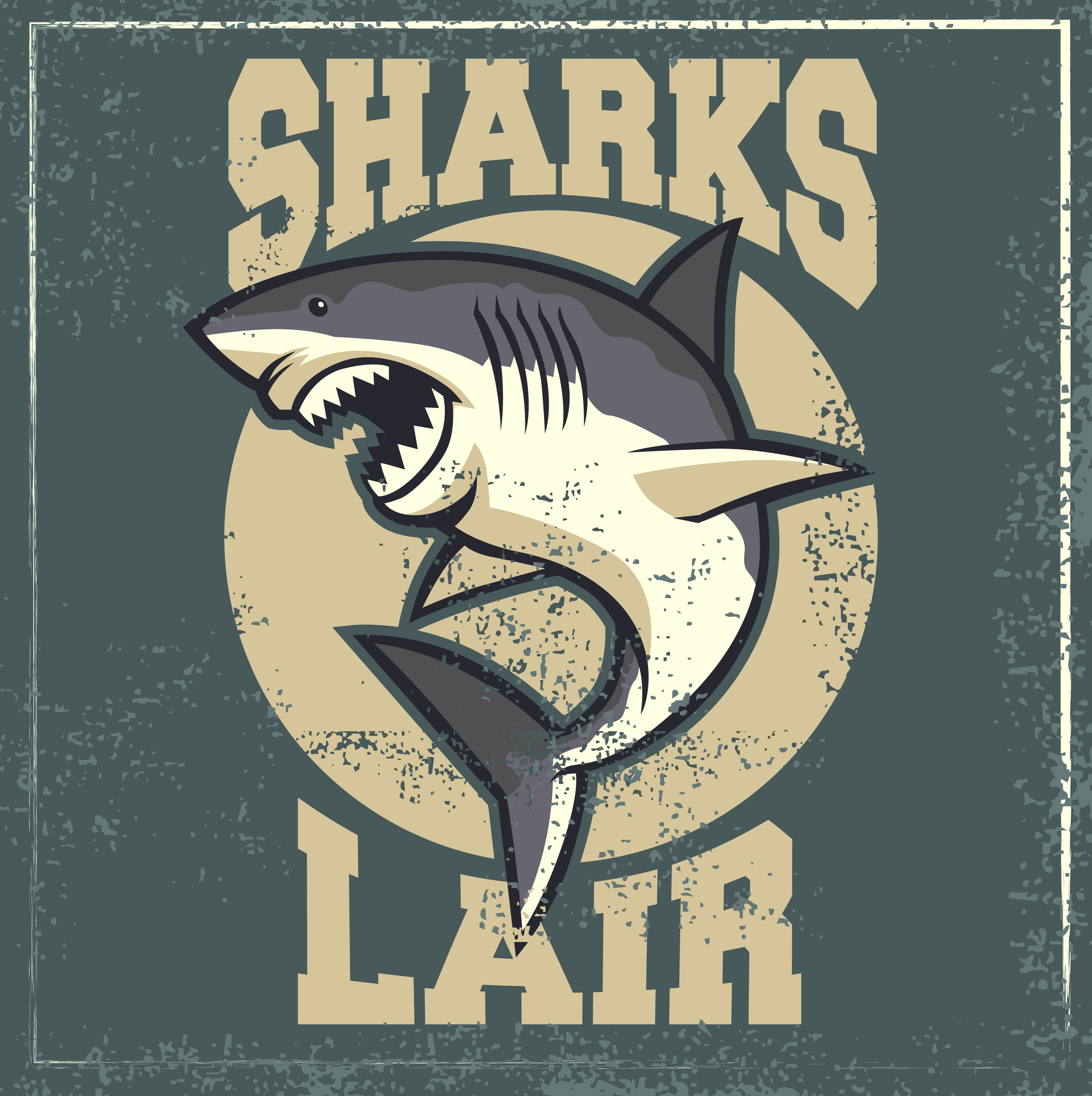 Fred Sharks Lair 16 x 16 inch